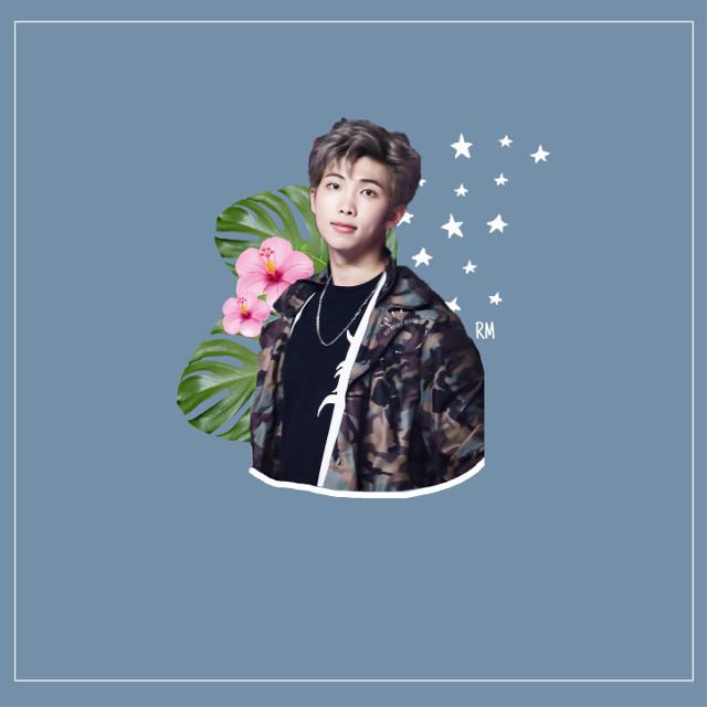 RM.  #freetoedit #bts #bangtanboys #beyondthescene #namjoon #kimnamjoon #rm #flower #blue #white #leaf #line #star