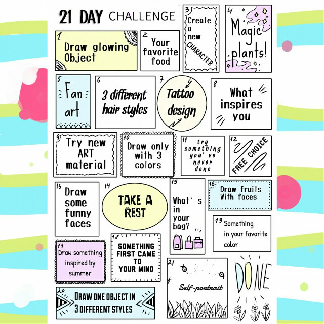 I created 21 day challenge for artists! If you dont know what to draw here's the help for you. Sometimes i have this problem and now when i won't know what to draw I'll look at the ideas on this pic. You can do all challenge in a row or just pick ideas from here to your drawings ;) let me know if you're picking ideas from this board (dm your drawings or tag me!) I'll be really interested to see what you create! Have a nice day guys ✨ #challenge #21daychallenge #drawing #draw #artist #drawingchallenge