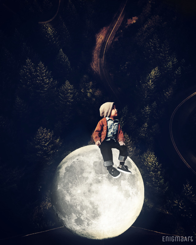 Thanks for the #freetoedit image & stickers 💫  #moon #boy #surreal #forest #sitting #child #mysterious #editedbyme #madewithpicsart
