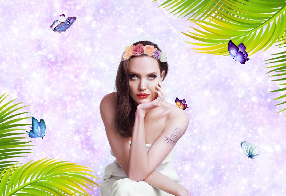 #freetoedit #angelinajolie #butterflies #galaxy #art #colorful