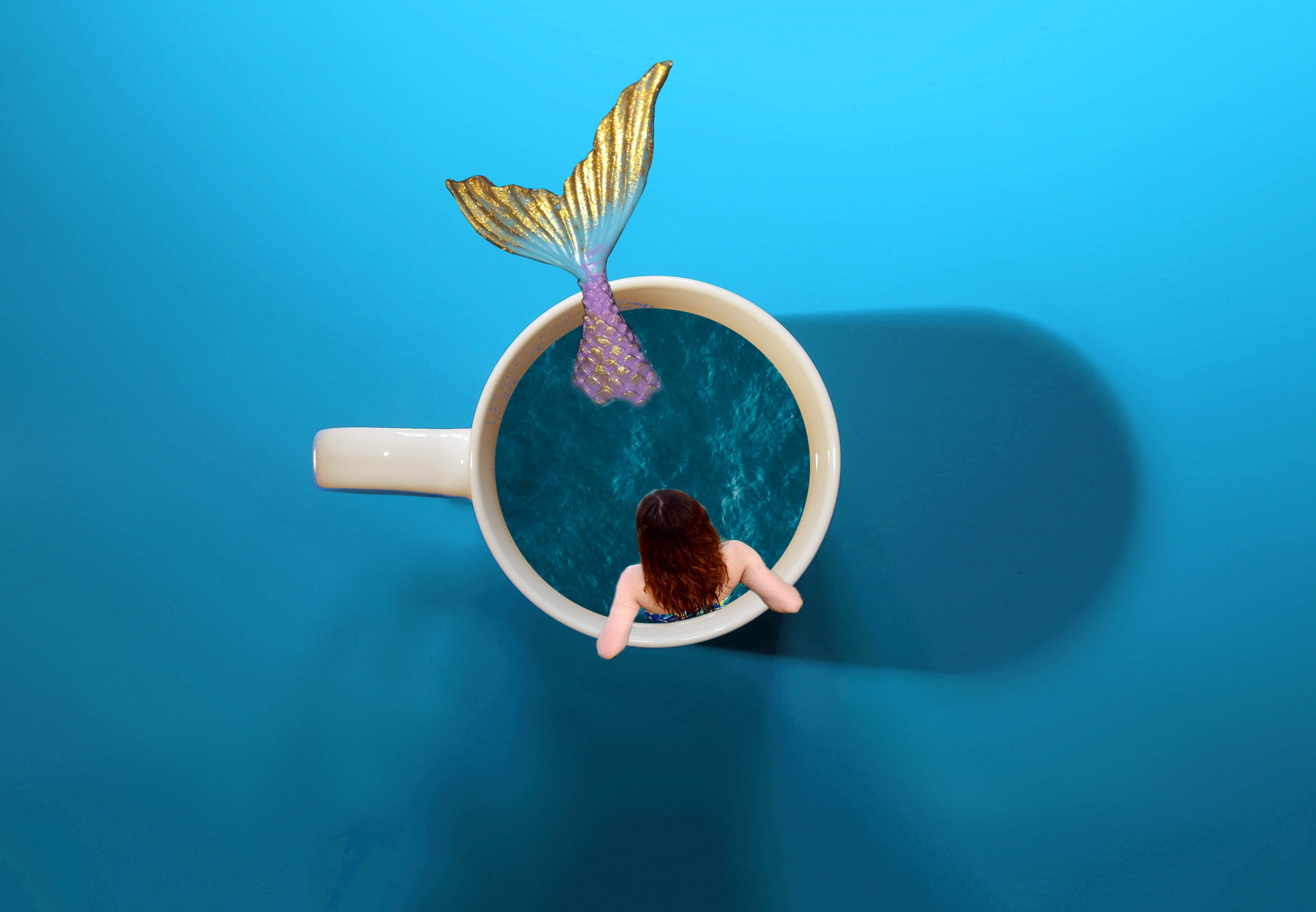 #freetoedit#ircfullonred #fullonred #mermaid #sea #cup #coffee #coffeecup #blue #girl #picoftheday
