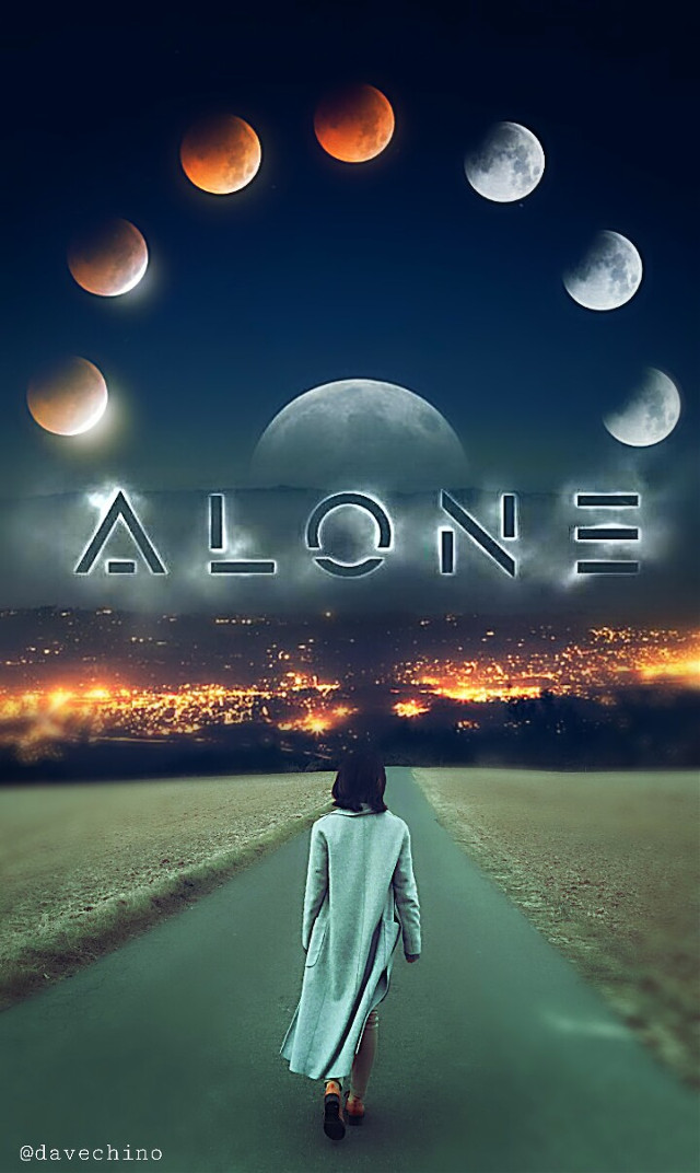 #alone #walkingalone #woman #moon #nightsky @freetoedit @picsart #surreal #surrealist #conseptual #myedit