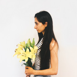 freetoedit agirl flower girlwithflowers (null) pchalffaced halffaced