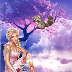 freetoedit tree racoon lady cuteanimal ircblueskywithclouds