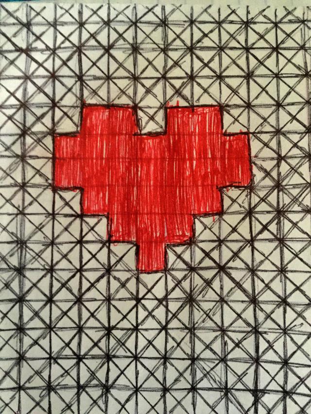 Idk boredom, horrible class, paper and a pen.  Maybe a gamer heart. This makes me think of ready player one (the movie)   Please dont steal.    Btw i am alredy on vacation   #heart #readyplayerone #atari #squares #katoka #katokachan #katokatram #weird #pen #boredom
