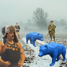 surreal bear hunting origami strongman freetoedit