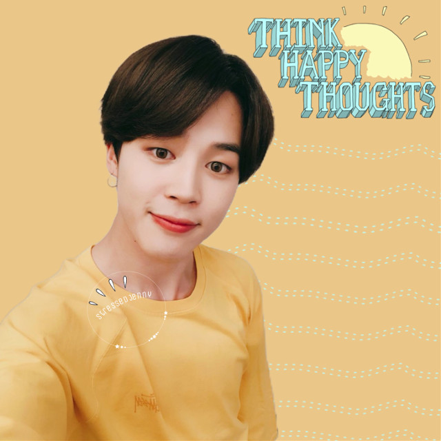 ❁ think happy thoughts ✧credits✧   ◌ dotted lines from @/ thewayvato   ◌ sun sticker from @/ thewayvato   ◌ Jimin sticker from @/ sorabts ↳ tags↴ #freetoedit #jimin #parkjimin #bts #bangtanboys #beyondthescene #thinkhappythoughts #yellow #blue #sun