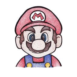 mario nintendo art pointillism
