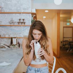 freetoedit vanila milkshake girl indoor