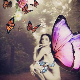 freetoedit surreal nudeart buterfly flower