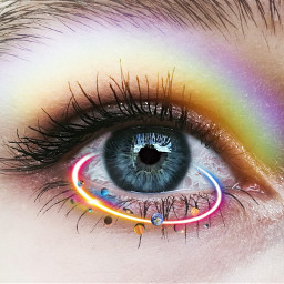freetoedit eye glitter rainbow flower srcorbitselfie