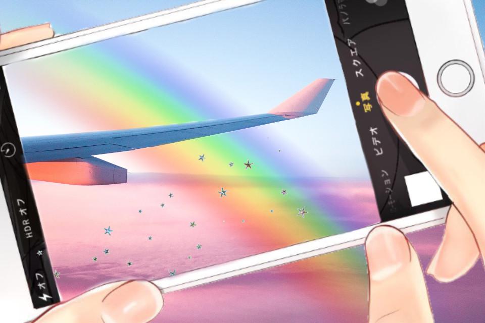 #freetoedit #photo #rainbow #plane #stars