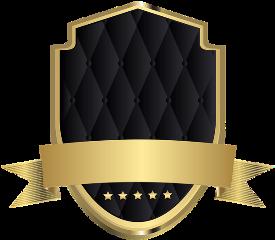 emblem banner gold black padded