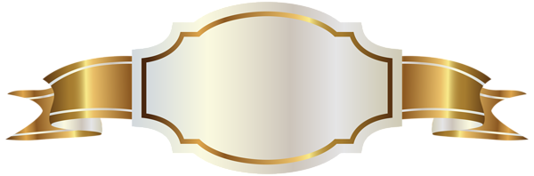 white ivory label gold ribbon