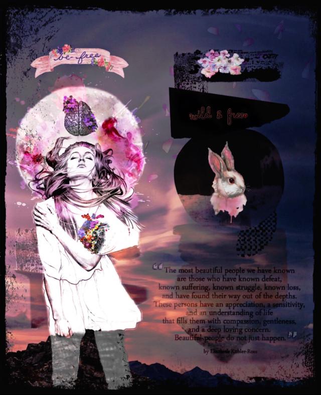 #freetoedit #wildandfree#befree#pink#mixedmediaart#watercolor 🌸🧠💕💘🖤