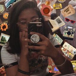 art vintage mirror pic girl freetoedit