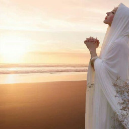 girl dress islamic alone beach freetoedit