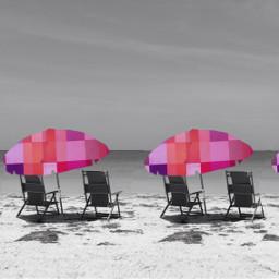 beachumbrellas beach pink colorful selectiontool