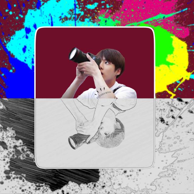 ❁ an artist • i also enjoy photography { bts requests are always open } ✧credits✧   ◌ jk sticker from @/ jackbam-    ◌ paint from @/ natnat7w  ↳ tags↴ #freetoedit #jungkook #bts #bangtanboys #jeonjungkook #beyondthescene #kpop #paint #blackandwhite