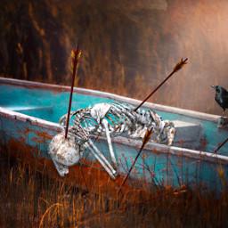 freetoedit skeleton boat crow arrows ftestickers