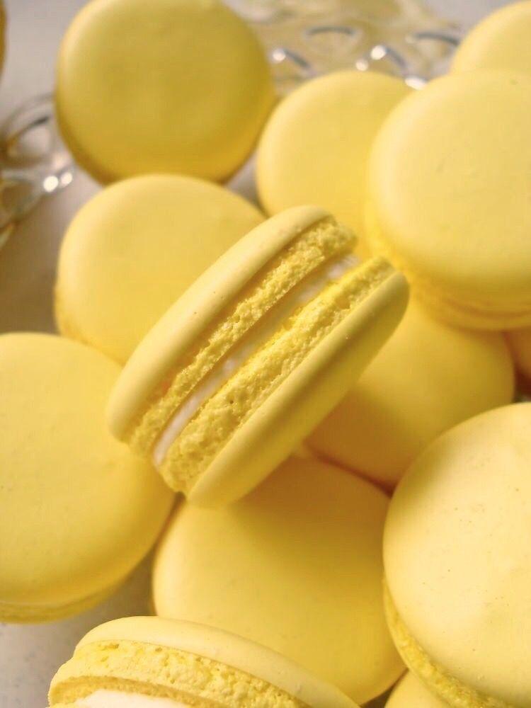 Freetoedit Aesthetic Macaroons Macarons Yellow Pastel