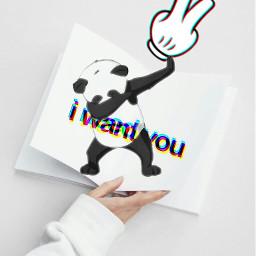freetoedit glitch cute panda