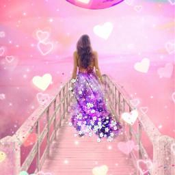 bokehheartbrush freetoedit heartshapes pink girl pcclouds pcsky pcbeautifulscenery