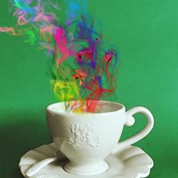 freetoedit teacup smoke colorfulsmoke rainbow