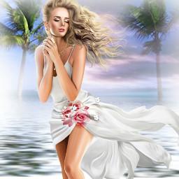 freetoedit girl beach palmtree floralwrap