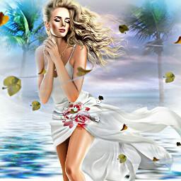freetoedit girl windy beach icecream