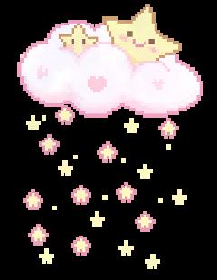 cute clouds stars pink yellow freetoedit