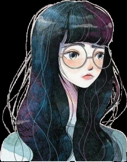 Girl Glasses Girly Sad Lovely Girls