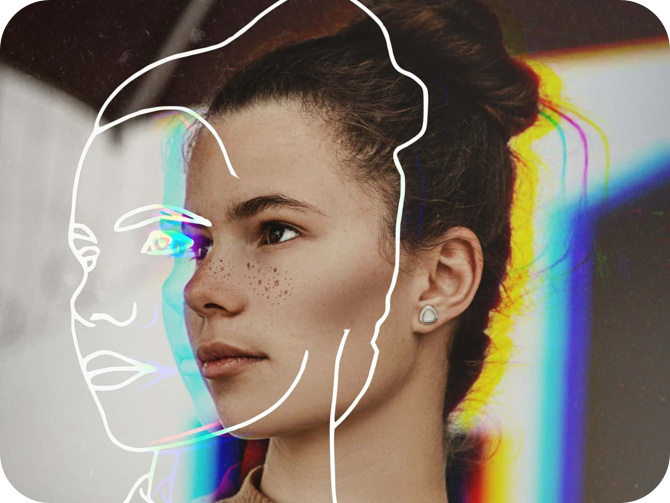 girl face with sketch effect and rainbow effect