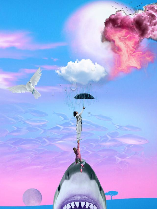 #freetoedit #dailyremixmechallenge #dailyremix @picsart @freetoedit #picsart #shark #pink #umbrella #ircblackumbrella #blackumbrella @michicusa