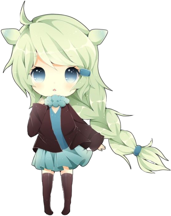 Chibigirl Chibi Girl Anime Cute Green Neko Mint Pastel