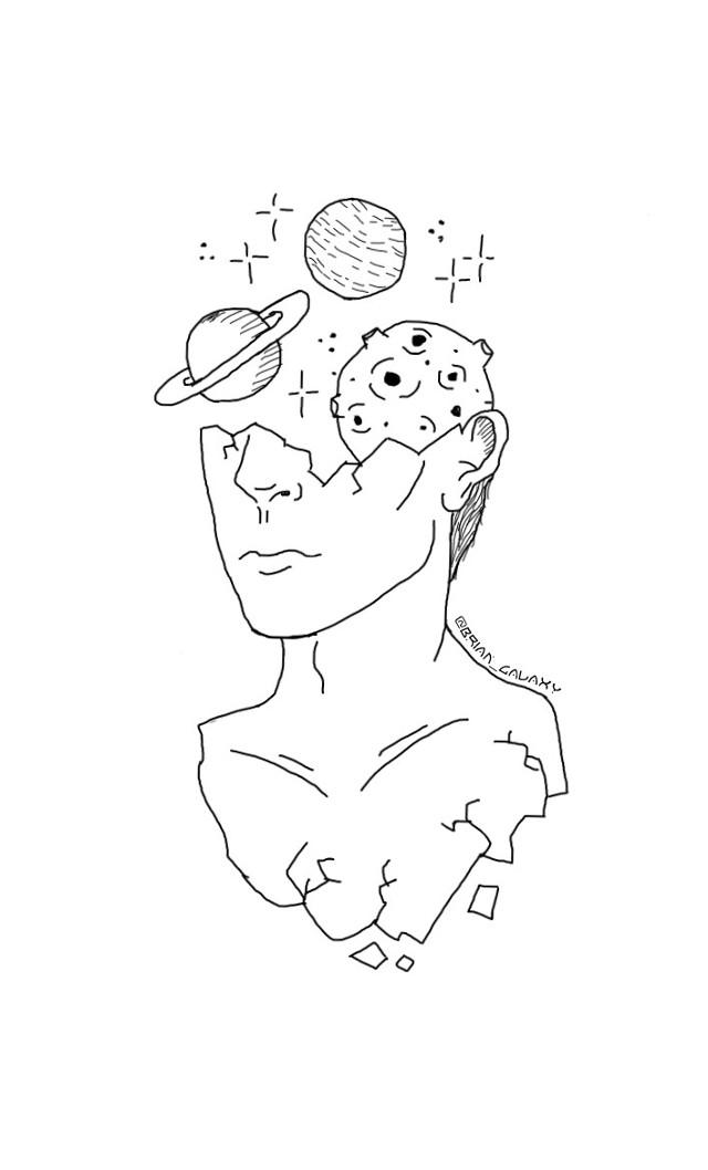 🗒✏Este es el primero de muchos dibujos que empezare a hacer.✏🗒 . 🗒✏This is the first of many drawings that I will start doing.✏🗒 .  #freetoedit #dibujo #galaxia #universo #espacio #planetas #estrellas #asteroide #persona #fragil #roto #cara @brian_galaxy