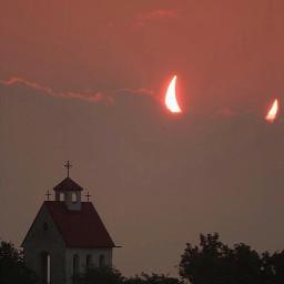 moon weird sun eclipse sunset freetoedit
