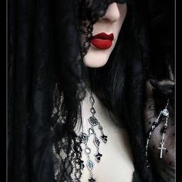 gothic redlips girly freetoedit