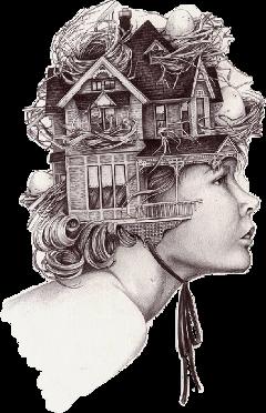 woman casetta doubleexposure surreal profilo