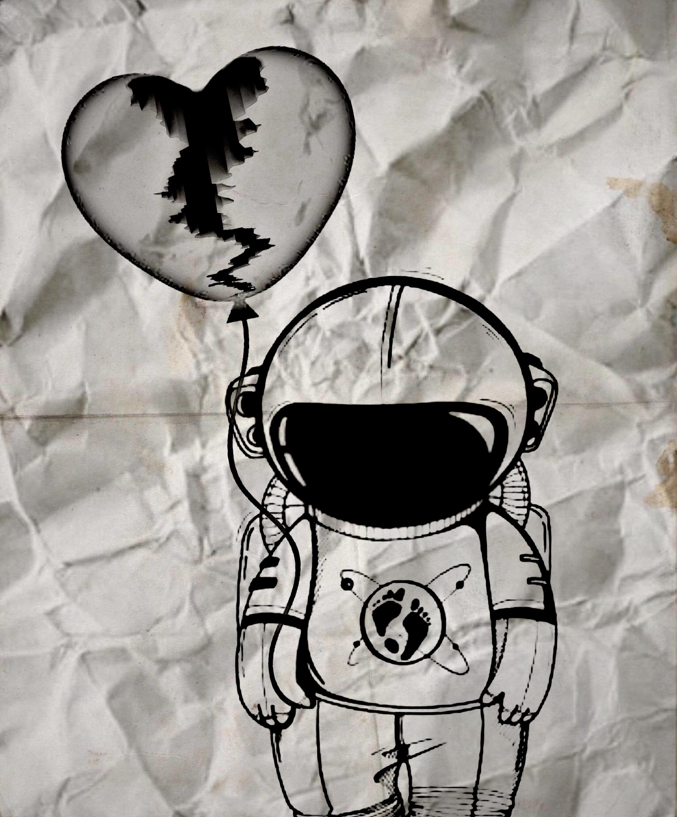 Freetoedit Papel Desenho Coracao Partido Astronaut News