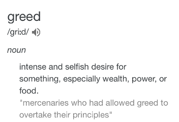 greed text sin definition money