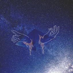freetoedit starrynight hands galaxy