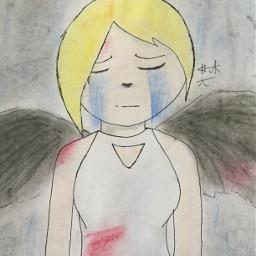 chalk chalkpastels angel blood wings
