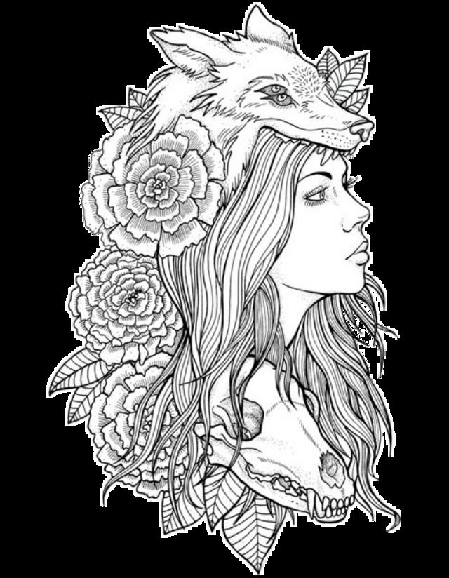 #tattoo #skulltattoo #flowerstattoo #womanflowersskull #wolftattoo