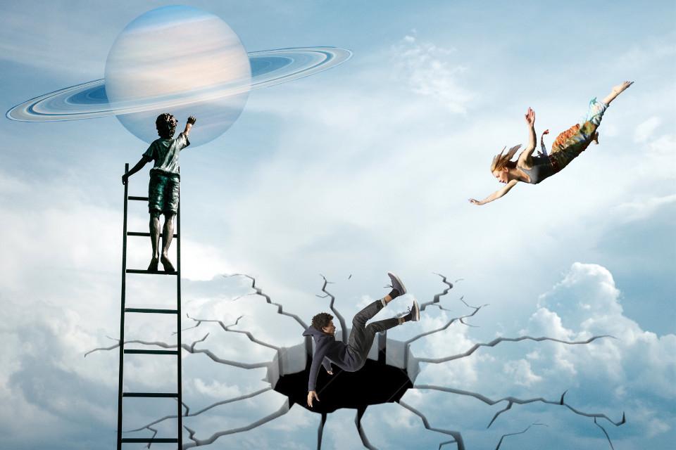 #freetoedit #ladder #boy #touching #saturn #clouds #sky #hole #falling #man #woman #flying