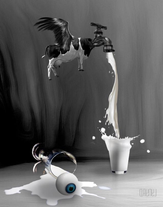 #freetoedit #blackandwhite #gotmilk #myart #myedit #madewithpicsart #surreal #art