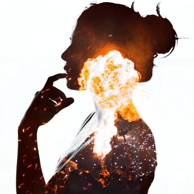 #freetoedit #woman #fire #people #flames #silhoutte #doubleexposure #unsplash #picsart