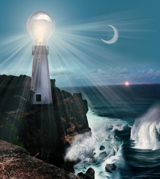 #thewonderfulworldofpa #keepitsimple123 #supersizeit #lighthouse #sea #cliff #eveningsky #surf #surreal #lightbulb #madewithpicsart #picsart  @pa @picsart #lighthouseday #freetoedit