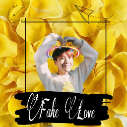 freetoedit bts fakelove yellow flower
