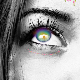 freetoedit blackandwhite rainbow eye myremix